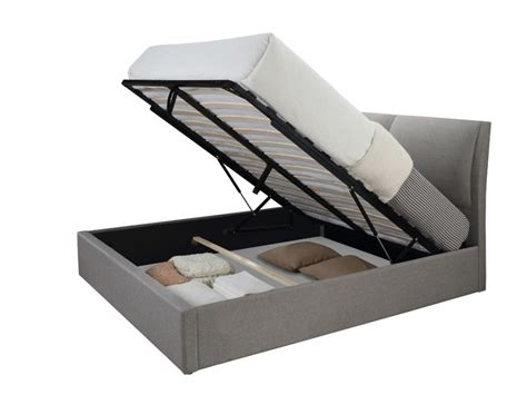 deco chambre bebe lit coffre alceo tissu gris clair ou anthracite 160 200cm