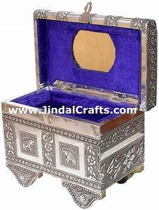 Jewelry Box Hand Carved Wooden and Embossed Metal Art