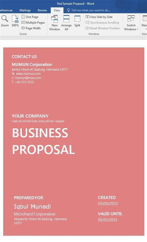 word proposal templates business proposal