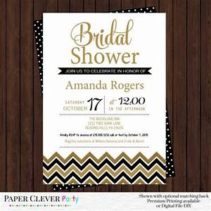 Black and gold bridal shower invitations modern chevron for Black and gold wedding shower invitations