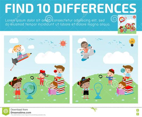 find differences for find differences brain 821 | find differences game kids find differences brain games children game educational preschool vector 73228080