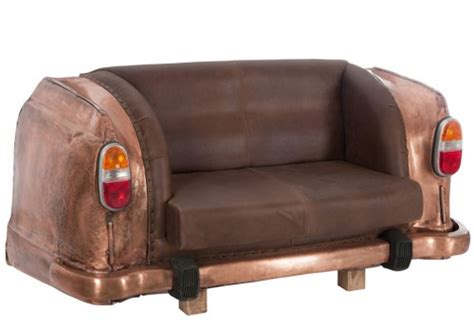 canapé original canapé original 2 places auto métal cuir cuivre marron