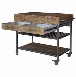 Kershaw Rustic Chunky Reclaimed Wood Iron Double Drawer