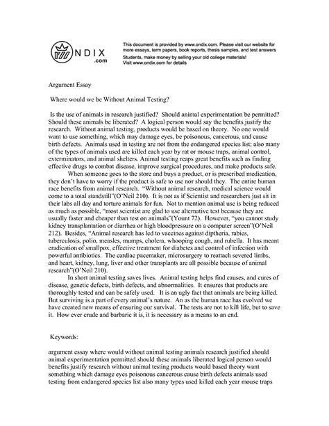 essays argumentative essay on animal testing exles
