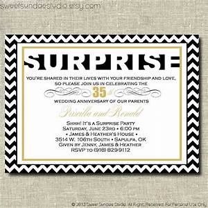 surprise anniversary party printable party invitation With black and white wedding anniversary invitations