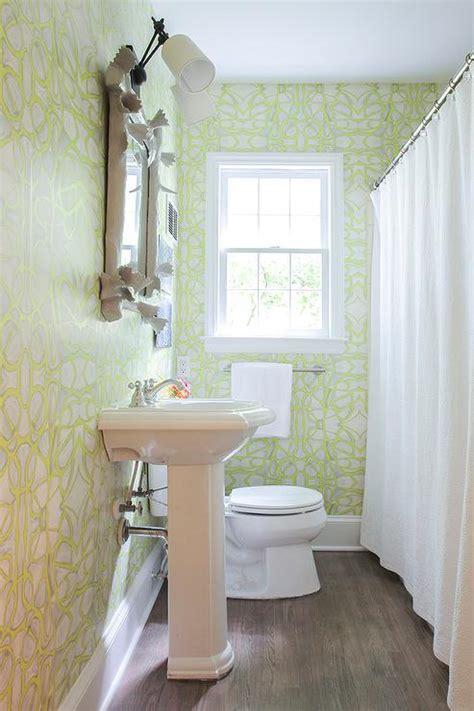 white  green bathroom  faux bois mirror
