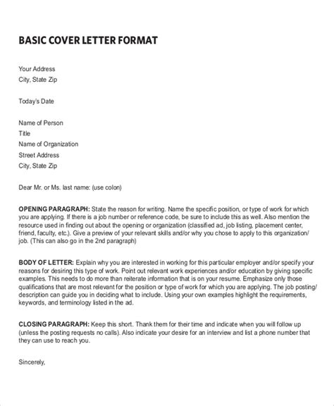 Cover Letter Format For Resume by Sle Resume Cover Letter Format 6 Documents In Pdf Word