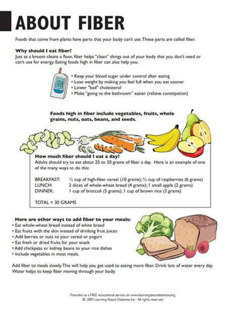 high fiber diet handout  spanish diet plan