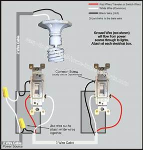 Three Way Light Switch 3 Way Light Switch Wiring Diagram House Wiring In Residential Wiring