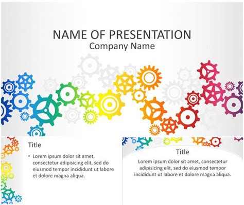 colorful gears powerpoint template projects