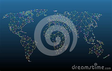 Multicolored World Map Network Mesh Stock Vector Image