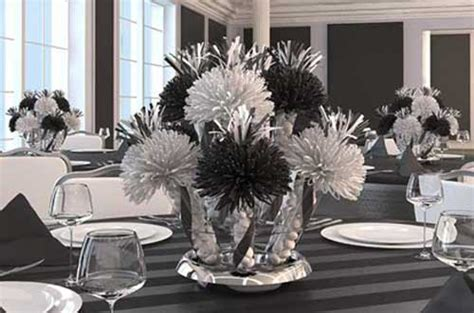 black and white table arrangements centerpieces party centerpieces unique table
