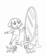 Coloring Mirror Makeup Door Dora Explorer Coloringtop sketch template