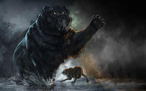 hintergrundbilder braunbaer wolf schlaegerei tiere gezeichnet