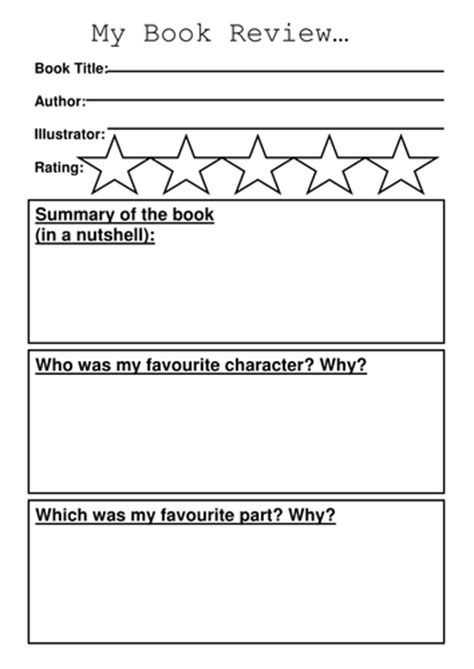 book review template  sibrooks teaching resources