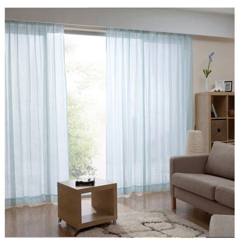 living room and bedroom 2 panels light blue sheer curtains