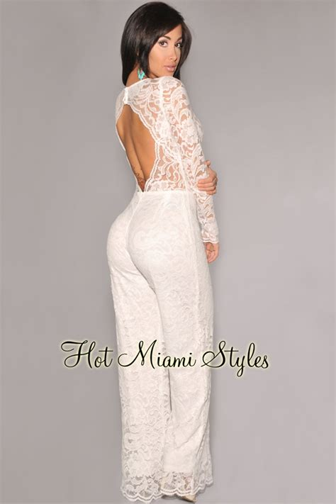 white sleeve jumpsuit white sleeve lace cut out back jumpsuit