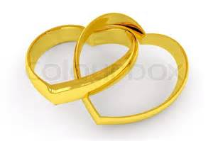 interlocked wedding rings heart shaped gold wedding rings on white background