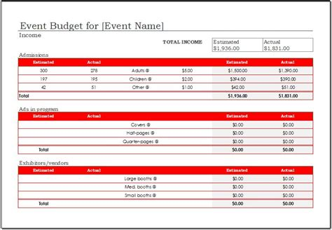 event budget template   ms excel excel templates