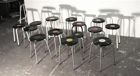 tabourets vintages r 233 alis 233 s 224 partir de disques vinyles