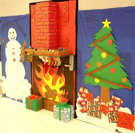 christmas school door decorating ideas like the hearth but it might get in the way hmmm