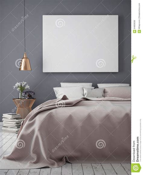 mock  blank poster wall bedroom stock images