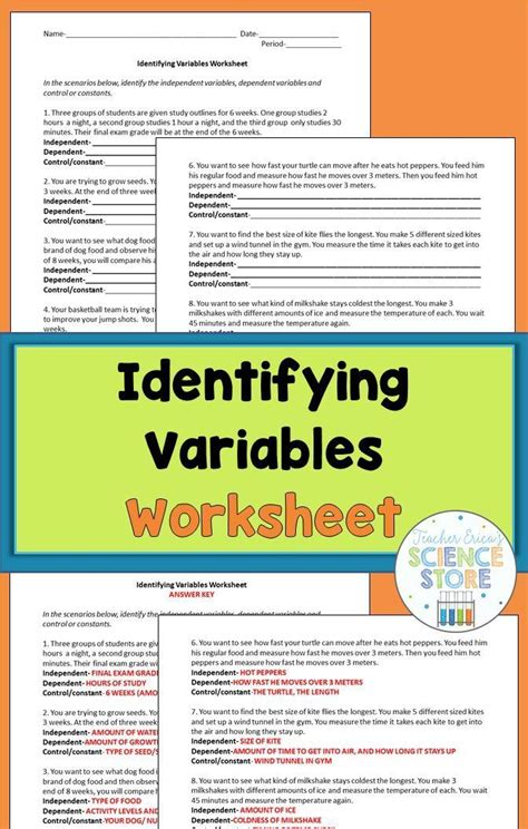 identifying variables worksheet variable