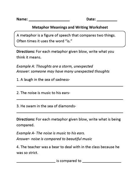 metaphors worksheets comparing and meanings metaphors