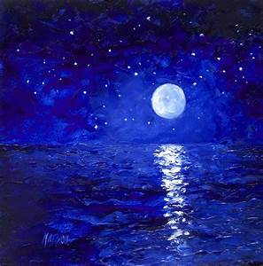 Moon And Stars Painting Painting by Jan Matson