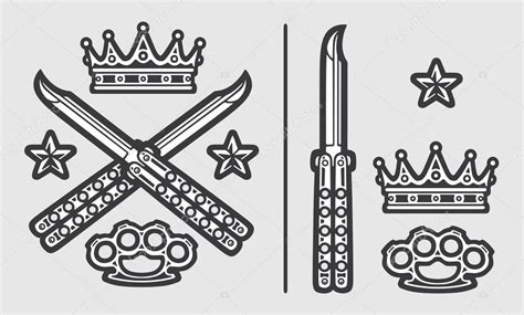 Butterfly Knives With Brass Knuckles Crown And Stars