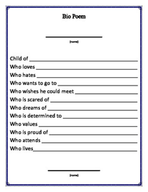 bio poem template bio poem printable by beyond the board teachers pay teachers