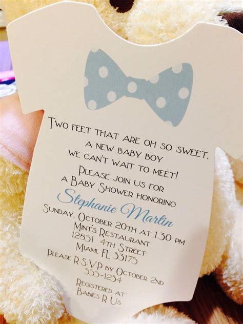baby boy bow tie onesie baby shower invitation