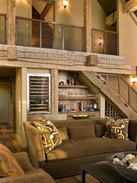 bar  stairs rustic living room design rustic