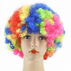 CURLY AFRO WIG MULTI COLOUR PARTY CLOWN FUNKY DISCO MENS ...