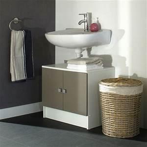 Meuble Sous Lavabo But : galet meuble sous lavabo 60cm blanc et taupe achat ~ Dode.kayakingforconservation.com Idées de Décoration