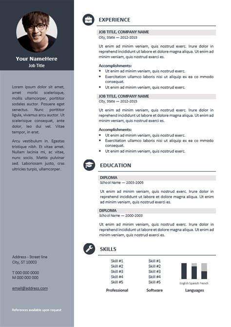 orienta  professional resume cv template gray