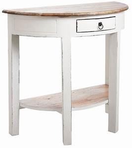 Console Bois Blanc : console demi lune en bois blanc antique ~ Teatrodelosmanantiales.com Idées de Décoration