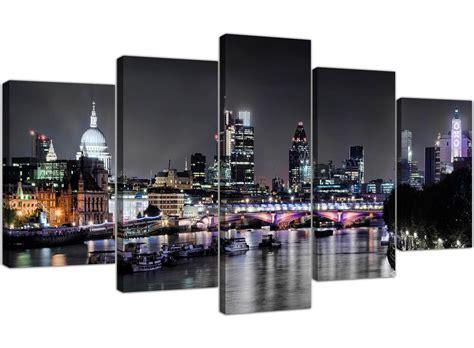 london skyline night black white grey panel