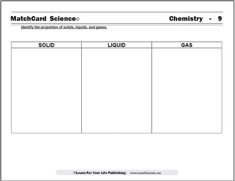identifying states of solid matter worksheet solid liquid gas worksheet
