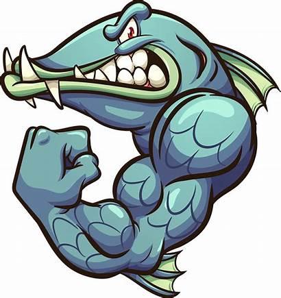 Barracuda Strong Vector Clip Mascot Fish Cartoon