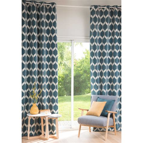 rideau de carte du monde rideau motifs bleu p 233 trole 140x300cm aston maisons du monde