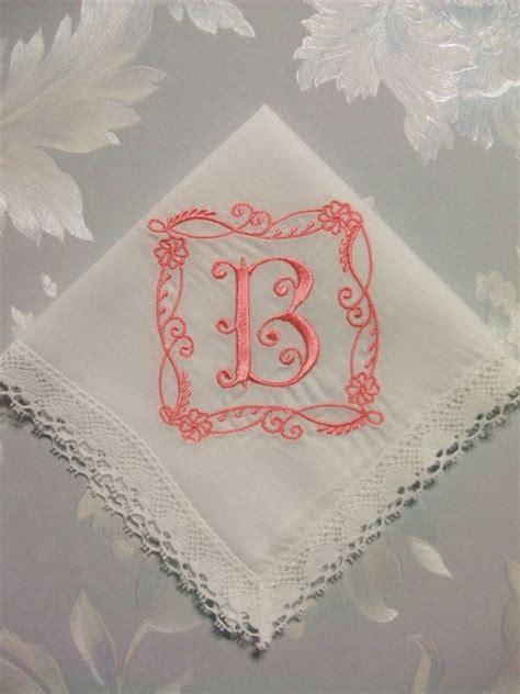 letter m monogrammed hankie handkerchief embroidered custom embroidered letter initial monogram for bride