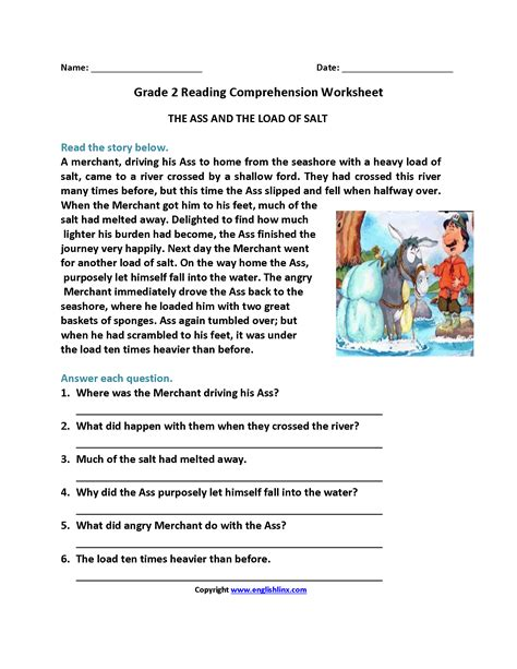 ass and load of salt second grade reading worksheets