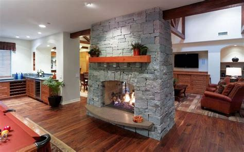 sided modern fireplaces working  beautiful room