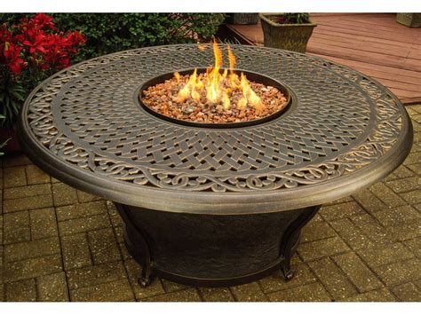 fire pit table sale oakland living charleston round gas firepit table 8206
