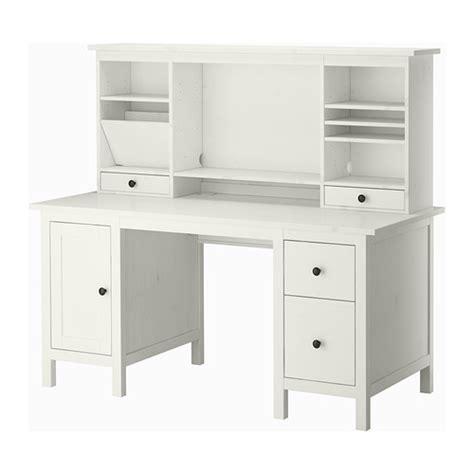 hemnes bureau met aanbouwdeel witgebeitst 155x137 cm