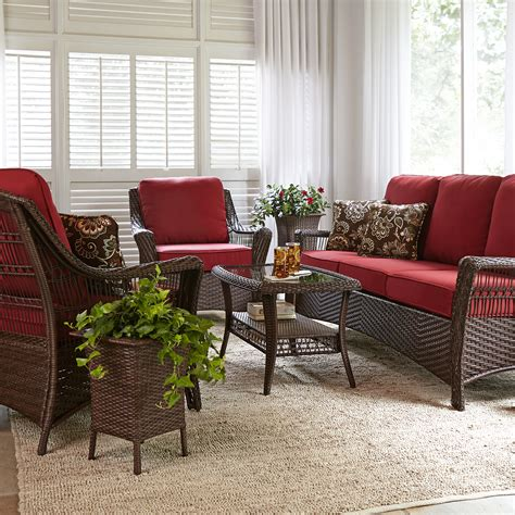 la z boy outdoor scarlett 4 piece seating set in red sears