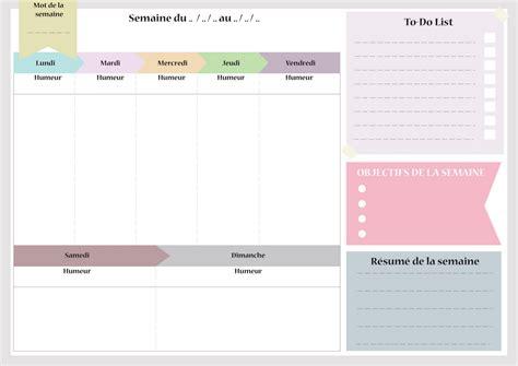 emploi de bureau imprimez semainier planning de semaine agenda