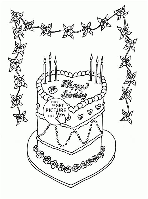 beautiful birthday cake coloring page  kids holiday