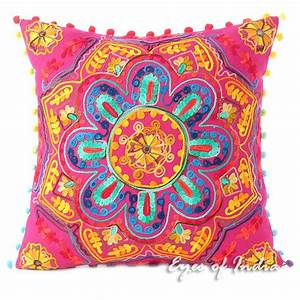 pink embroidered colorful decorative boho throw pillow With bohemian pillows and throws